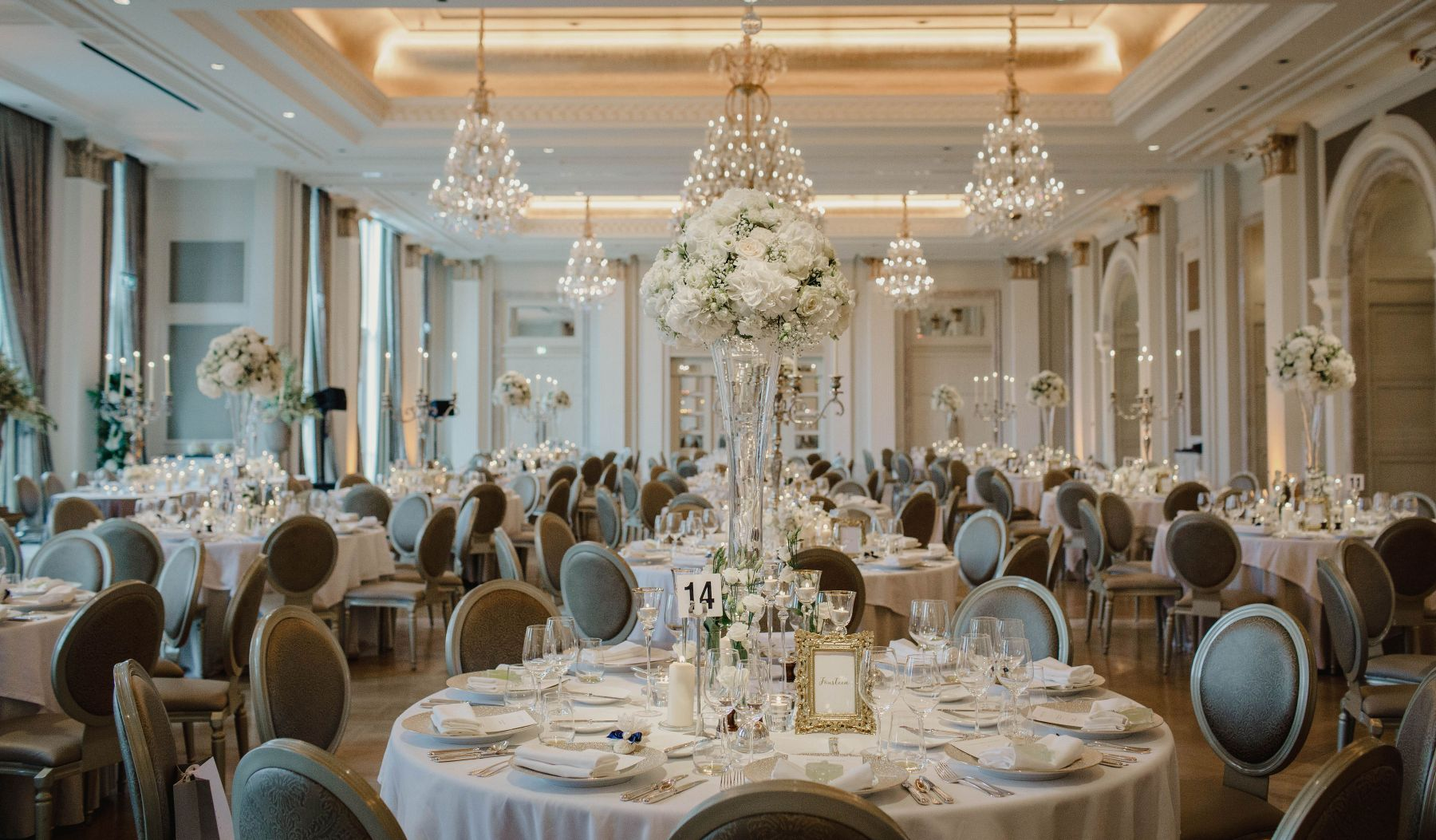Wedding Banquet Room in Ivory and Gold