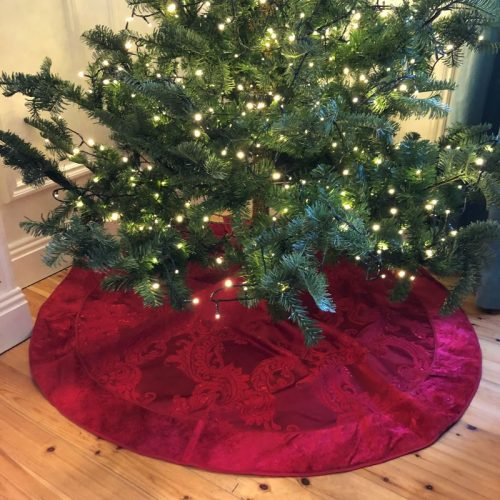 Red Velvet Trim Tree Skirt